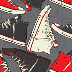 Seamless pattern with sneakers Vector background.