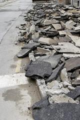 Pieces of sphalt