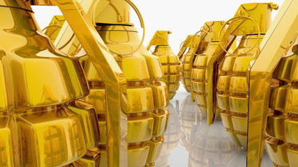 Abstract Hand grenades in gold color on white