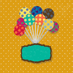 Birthday card with cute colorful balloons and ribbon.