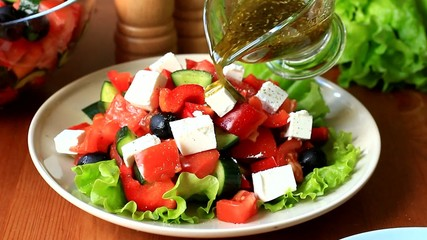 Close up video of cooking traditional greek salad