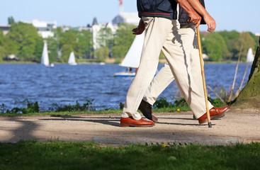 Spaziergänger mit Gehstock