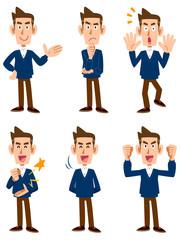 Vネックセーターの男性、6種類の表情と仕草