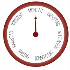 Uhr mit Wochentagen