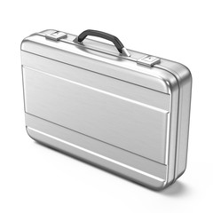 Metallic suitcase isolated on white background - 3d render