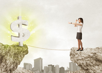 Businesswoman on rock mountain with a dollar mark