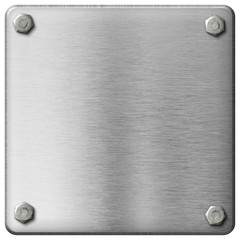 metal square plate with boltheads isolated