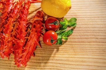 King crab, Food crab of legs, alaska food.