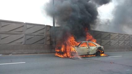 Automobile car on fire