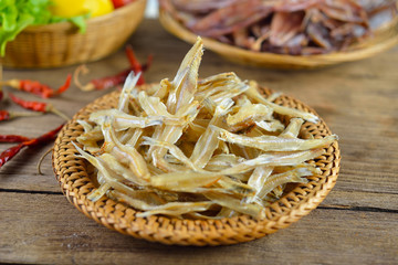 dried  fish on wood background