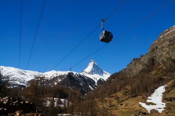 Glacier Paradise cable car passing the Matterhorn , Switzerland