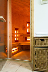Modern sauna in a luxury apartment