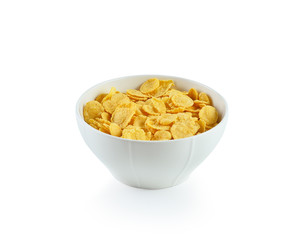 Corn flakes bowl on white background