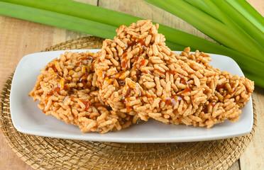 Rice cracker on wooden background