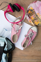 Overhead of essentials for girl