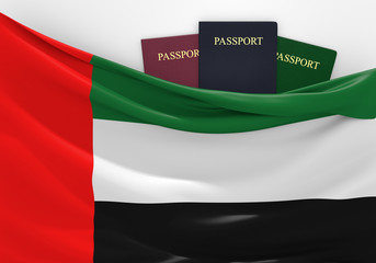 Travel and tourism in United Arab Emirates, with passports
