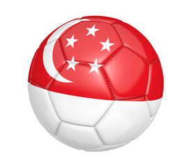 Soccer ball, or football, with the country flag of Singapore