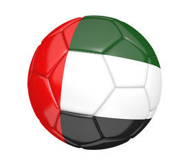 Soccer ball, or football, with the flag of United Arab Emirates