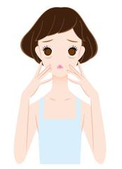 目の下の皺に悩む女性