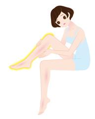 浮腫んだ足に悩む女性