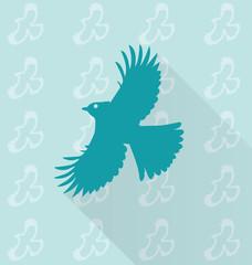 little bird vector in background pattern