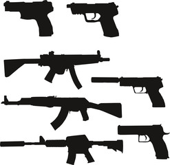 Waffen Silhouetten Set 1