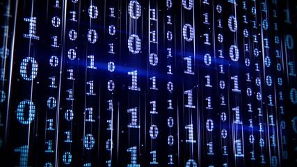 blue binary rows seamless loop animation 4k