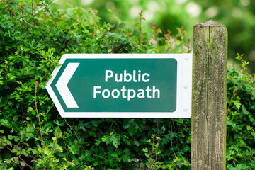 Public footpath sign, with direction arrow