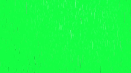 Raindrops, isolated on green screen