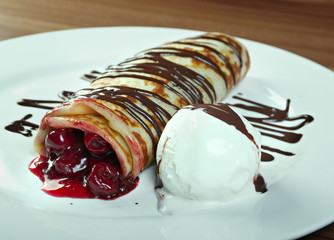 stuffed pancakes with with cherries