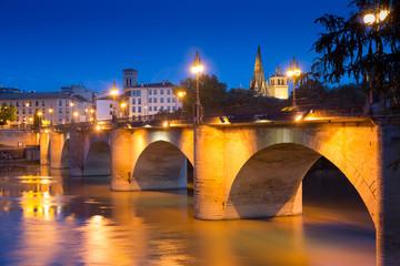 stone bridge over Ebro  in summer night.  Logrono,