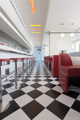 black and white tile floor in diner restaurant