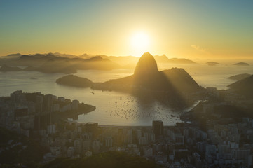 Scenic Sunrise Rio de Janeiro Brazil Sugarloaf Mountain