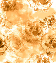 Seamless golden roses background pattern