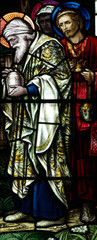 The three kings visiting Jesus in stained glass