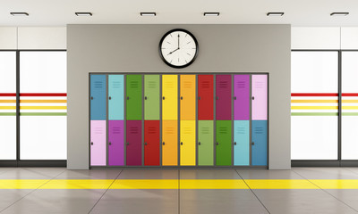 School hallway with colorful lockers