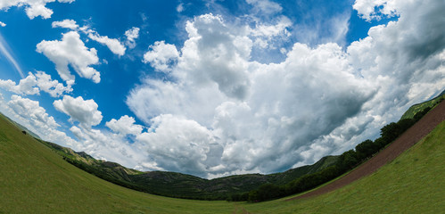 Mountain landscape. Picture taken with a fisheye lens