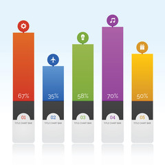 Bar Chart with icon and full color