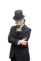 Businessman with gas mask and with a hat