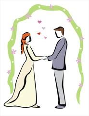 boda feliz entre hombre y mujer