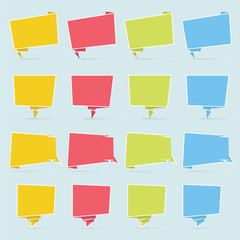 Colourful Icon Speech Bubble with Origami Paper style