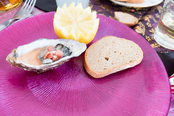 Oyster with Lemon and bread