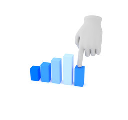 3d white human hand over graph. White background.