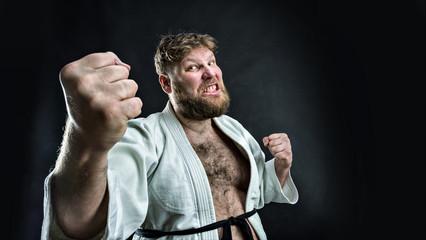 Aggressive karate fighter