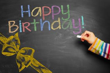 Hand writing Happy Birthday! on chalkboard