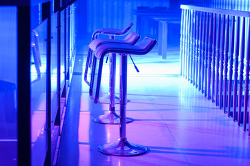 Row of Empty Bar Stools Along Bar in Night Club