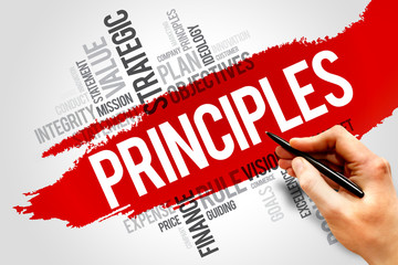 Principles word cloud, business concept