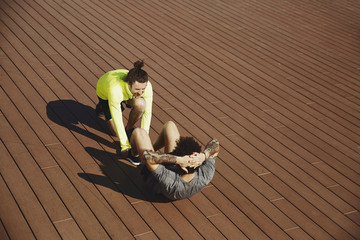 Fitness, sport, training, teamwork and lifestyle concept
