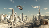 Fototapety Scout Ship Landing in a Future City, Scifi illustration