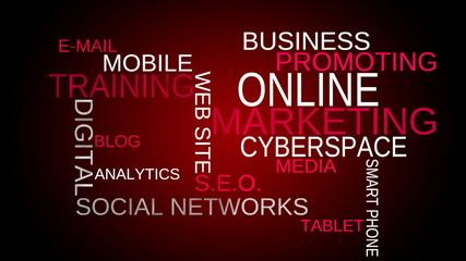 On line, marketing word cloud - red bg. Loop able.